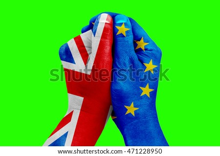 brexit, hand patterned with flag of the blue european union EU and one hand patterned with flag of great britain on chroma key green screen background, vote referendum for united kingdom exit concept