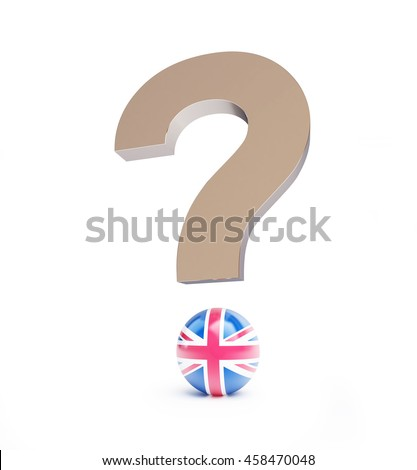 Brexit question mark. 3d Illustrations on a white background - stock photo