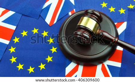 Brexit referendum concept with EU and UK flags and gavel - stock photo