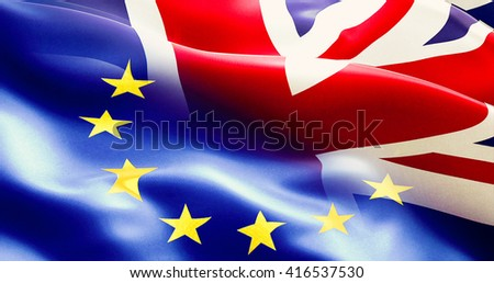 brexit separated half flag of european union and united kingdom, uk england flag, vote for exit concept - stock photo