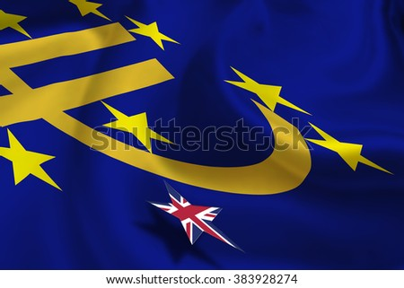 Brexit : Silky flag of Euro currency symbol with 12 yellow (gold) stars with a small star flag of UK floats over it. A symbol of uncertainty in the Eurozone during UK's referendum. Political concept. - stock photo