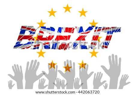Brexit Text Isolated art hand. flag of the European Community of the United Kingdom art