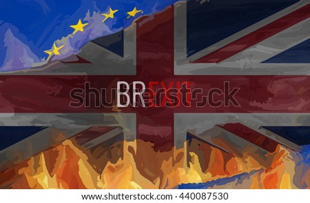 Brexit United Kongdom Europe Flags Background