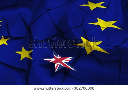 Brexit : Wavy flag of European Union on a cracked paint wall with star flag of United Kingdom (UK) floating above. A symbol of leaving after the referendum that could erode fundamental EU liberties. - stock photo