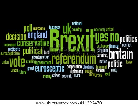 Brexit, word cloud concept on black background.