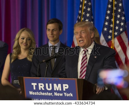 Briarcliff Manor, NY USA - June 7, 2016: Donald Trump speaks during post-election remarks at Trump National Golf Club Westchester - stock photo