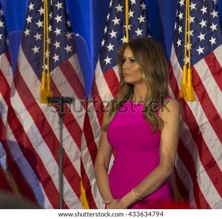 Briarcliff Manor, NY USA - June 7, 2016: Melania Trump attends Donald Trump speech during post-election remarks at Trump National Golf Club Westchester - stock photo