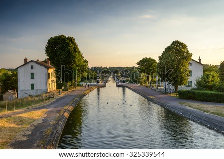 Briare, France, Bridge-canal intersection with Loire river - stock photo