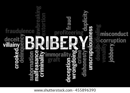 Bribery info text word cloud concept on black background - stock photo