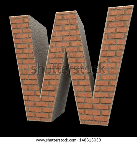 brick alphabet, letter W isolated on black background - stock photo