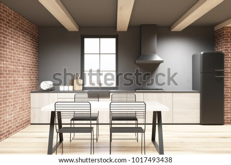 Brick and concrete dining room with a wooden table, metal chairs, wooden countertops and a light wooden floor. A window. 3d rendering mock up