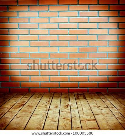 brick and wood - stock photo