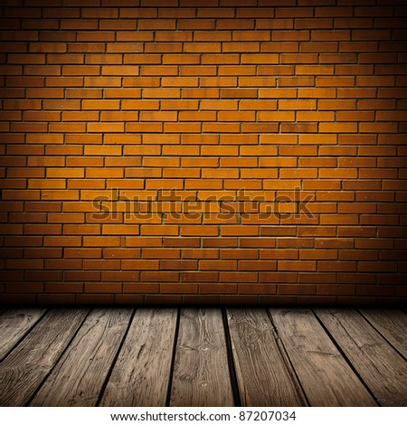 Brick and wood interior background - stock photo