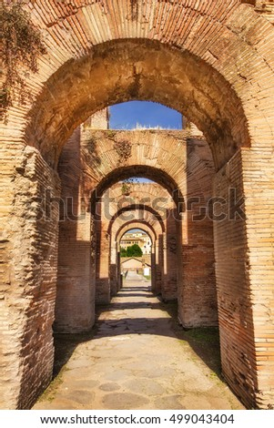 Brick arches between the Roman Forum and the Palatine Hill in Rome, Italy