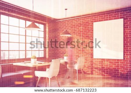 Brick Cafe Interior Square Tables White Stock Illustration 687132223 ...