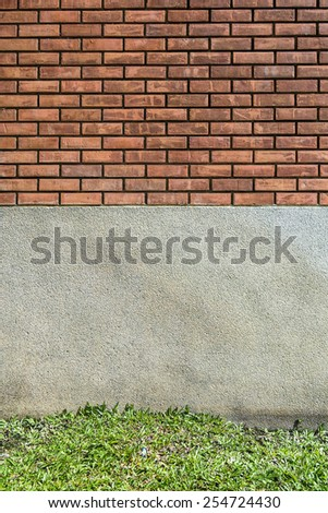 brick, cement and grass texture - stock photo