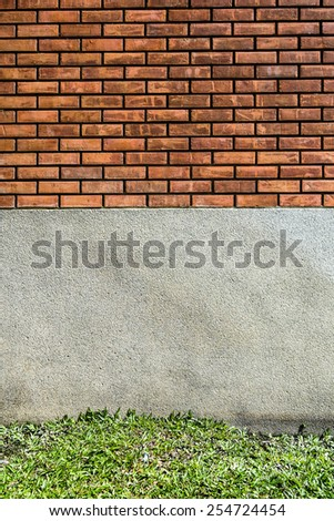 brick,cement and grass texture - stock photo