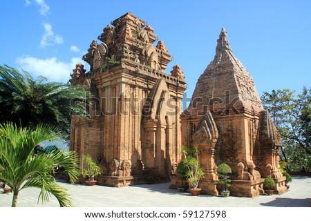Brick cham towers in Nha Trang, Vietnam - stock photo