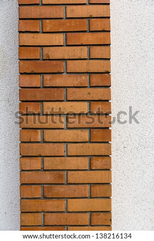 Brick Chimney Texture with White Wall Background - stock photo