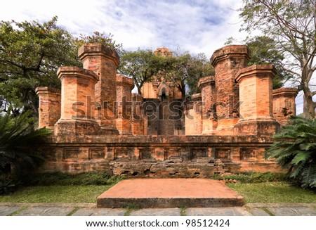 Brick columns of cham temple in Nha Trang, Vietnam - stock photo