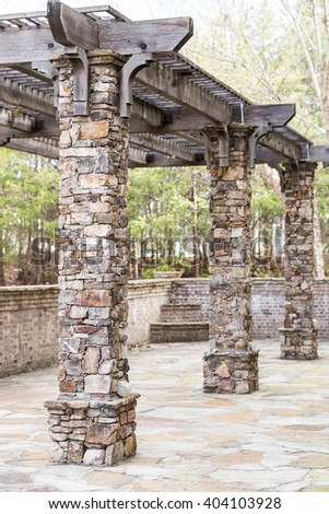 Brick columns outdoor structure  - stock photo