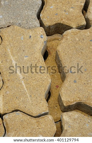 brick for footpath , brick walk way , Brick pavement tile, top view. Urban texture as background, top view  - stock photo