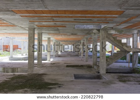 brick foundation and construction of a building - stock photo