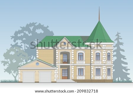 Brick house facade with a green roof - stock photo