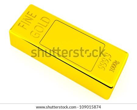 Brick of gold on white background - stock photo