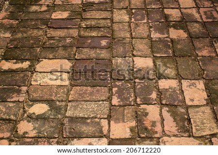 Brick pavement in ancient building construction ,Thailand - stock photo