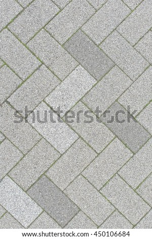 Brick pavement of the Japanese footpath pattern, top view, for background - stock photo