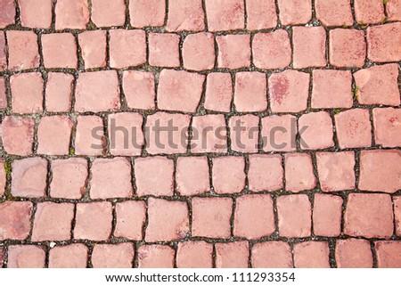Brick red paving stone tile pattern - stock photo
