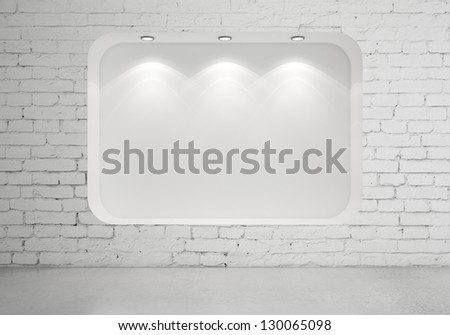 brick room with showcase and lamps - stock photo