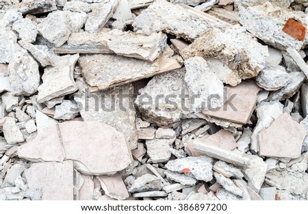 Brick rubble debris  - stock photo