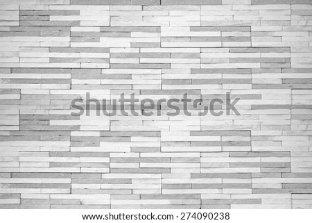 Brick tile wall texture pattern background in white grey color tone with vignette   - stock photo