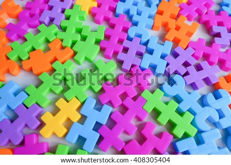 Brick toy or plastic toy blocks, background concept - stock photo