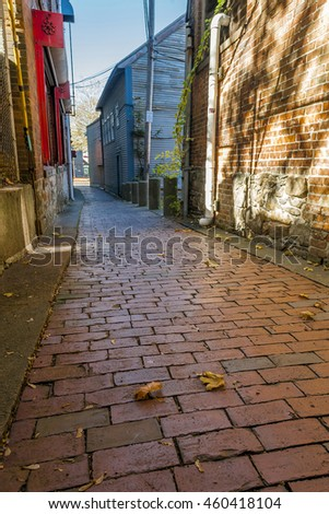 Brick urban alleyway