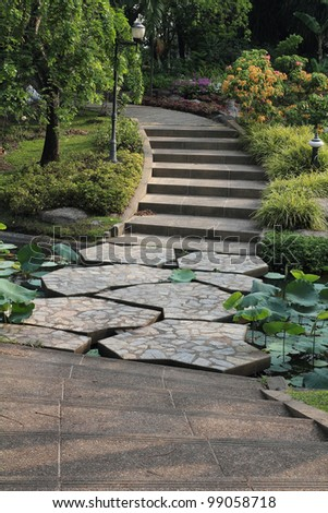 brick walkway in the garden - stock photo