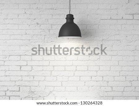 brick wall and ceiling lamps - stock photo