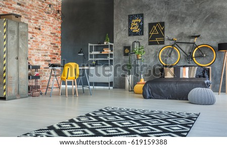 Superior Brick Wall And Hipster Furniture In Bedroom Interior