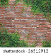 Brick wall and rattan - stock photo