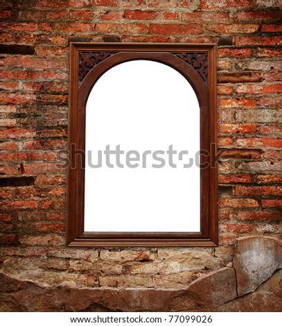 brick wall and window outside the white background. - stock photo