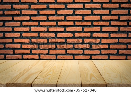 Brick wall and wood floor background - stock photo