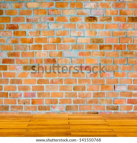 brick wall and wood floor texture interior - stock photo