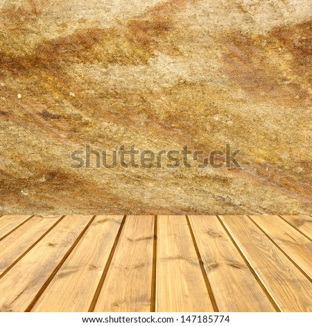 brick wall and wood floor texture interior  - stock photo