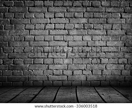 Brick wall and wooden floor. Grunge wall.