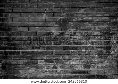 brick wall background in black and white color. - stock photo