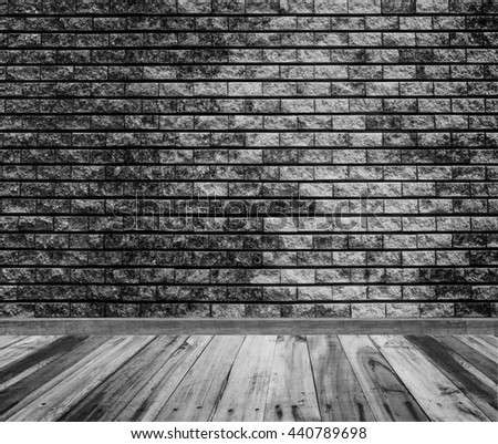 brick wall background texture and wood floor with black and white tone - stock photo