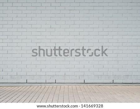 Brick wall background, texture for graffiti - stock photo