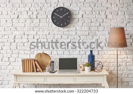 Brick Wall Banner Laptop Black Clock Winter Style